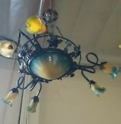 Vintage Wrought Iron Chandelier And Green Glass Shades Art Deco Style Handmade