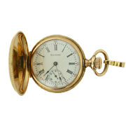 Waltham White Dial 15 Jewels 14k Gold Pocket Watch For Parts/repairs