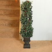 Vintage Christmas Holiday Time 39 Artificial Topiary Tree Holly Red Barries