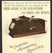 Invincible Autographic Register C 1893 Chicago Worlds Fair Exposition Trade Card
