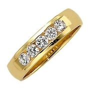 1.01 Carat Total 5 Round Cut Diamond Ring 14k Yellow Gold Wedding Band F-g Color
