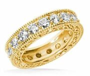 2.72 Ct Antique Style Deco Round Diamond Ring Eternity Band 14k Yellow Gold