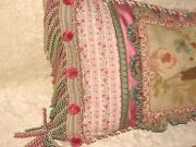 Beautiful Authentic Aubusson Tapestry Boudoir Pillow 26andrdquo X 15andrdquo