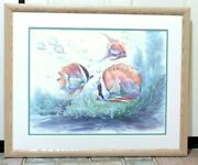 Richard E. Williams Tropical Fishes Vi A/p Wood Framed Relief Lithograph 28x34