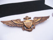 Antique Authentic Wwii Usn Us Navy Military Gold Pilot Wing Pin Badge Full Size