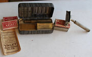 2 Vintage Valet Auto-strop Gold And Silver Safety Shaving Razor W/ Case And Blades