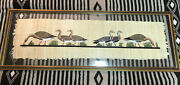 Hand Painted Egyptian Goose Art On Papyrus Parchment Framed