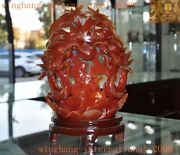 Natural Agate Onyx Carved Fengshui Zodiac Sign Lucky Animal Double Dragon Statue