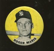 Original Early 1960and039s Pm 10 Stadium 3 3/8 Inch Pin Roger Maris Yellow Background