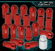 For Mitsubishi M12x1.5 Thread Aluminum Red Wheels Rim Extended Lug Nuts +adapter