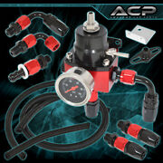 Universal Fuel Pressure With Gauge 0-160 Psi Adujustable Fpr Fittings Black Red