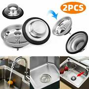 2pcs Universal Kitchen Sink Strainers Garbage Disposal Stopper Stainless Steel
