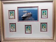 Disney Cruise Line Signed Picture Of Ships And Captains Framed Rare Htf C