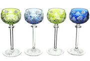 4 Val St Lambert Berncastel Cased Cut To Clear Crystal Goblets 6 Blue Green