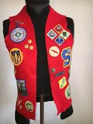 Vintage Bsa Boy Scouts Of America Felt Vest W/patches And Pins 90s 1 Of Kind 1212