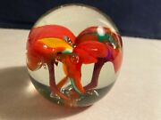 Vintage New Red Orchid Paperweight