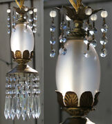 Vintage Lucite Morning Dew Lily Swag Lamp Chandelier Crystal Opaque Beaded Prism