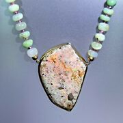 18 Ky Gold And Sterling Louisiana Opal Chrysoprase And Tourmaline Bead Necklace