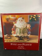 Fitz And Floyd St.nick Ceramic Cookie Jar Christmas Holiday Santa Red/gold/multi