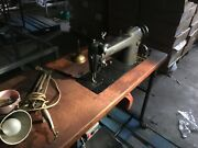 Vintage Industrial Singer Sewing Machine 241-11 W/ Table Motor Thread Stand