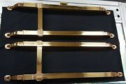 Architectural Salvage Pair Of Art Deco Double Bar Red Brass Pull Push Bars