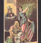 Chinese Must Go 1880and039s Back To China Uncle Sam Columbia Celluloid Laundry Card