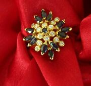 New Faberge 18k Gold Ring 14 Diamonds 13 Sapphires Size 9 1995 Franklin Mint