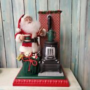 Animated Santa With Pot Belly Stove Holiday Scene Musical Holiday Creations