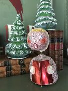 1940and039s Vintage Mica Glitter 7 Bobble Head Christmas Caroler Candy Container