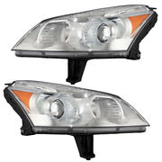 Headlights Set Fits 2009-2012 Chevrolet Traverse Halogen Lamps W/ Projector Beam