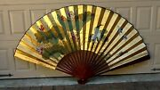 1920c Chinese Large Fan W/bamboo Spokes, Painting Of Cranes And Lotus Plants