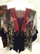 New Spencer Alexis Holiday Jacket Cruise Red Lapel Gold Threads Silk Blend Med