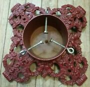 """Vtg. Ox Blood Red Cast Iron Christmas Tree Stand Holly And Berries Bells 15"""" X 15"""""""