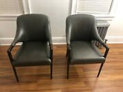 Sherrill Occasional Seabrook Grey Leather Accent Chair Set Originally 1200