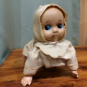 Wind Up Crawling Baby Made In Japan Works Metal Body Plastic Head Arms
