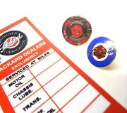 Approved Packard Lubrication Oil Change Service Sticker And 2 Lapel / Hat Pin
