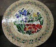 White Marble Dining Table Top Mosaic Floral Inlay Stone Kitchen Decorative H3803