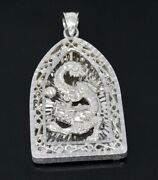 18k Solid White Gold 3-d Dragon Pendant 10874 H3jewels 18.00 Grams Pre Owned