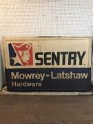Embossed Sentry Hardware Mowrey Latshaw Vintage Sign 72andrdquox48andrdquo Front And Back