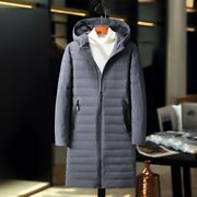 Menand039s Hooded Puffer Coat Lightweight Duck Down Jacket Mid Length Thick Warm New
