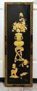 Vguc Asian Flower Pot Amber Color On Black Lacquer Wall Panel 36 H X 12 W