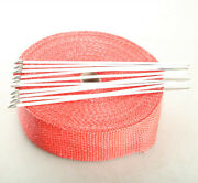 2 50ft Fiberglass Exhaust Header Thermo Heat Wrap Tape Red + 10 Ties Kit