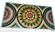4and039x2and039 White Marble Side Dining Table Marquetry Mosaic Inlay Garden Decorate Arts