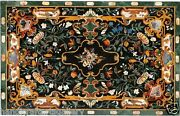 4and039x2and039 Green Marble Dining Table Top Rare Stone Pietradura Inlay Arts Home Decor