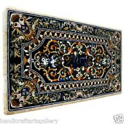 2.5and039x5and039 Black Marble Dining Table Top Scagliola Inlay Bird Hallway Decoratives