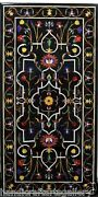 2.5and039x5and039 Black Marble Dining Table Top Marquetry Inlay Mosaic Living Home Decors