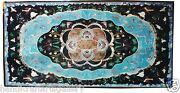 2.5and039x5and039 Black Marble Dining Table Top Turquoise Inlay Marquetry Art Home Decors