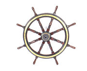 Antique Oak And Brass Ships Wheel And Salters Scales For Whale Meat 19th Century