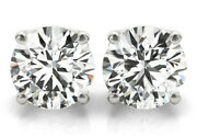 Platinum Studs Gia Certified E Color Flawless 0.88 Carat Round Diamond Earrings
