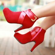 Women's Suede Farbic Round Toe High Heel Block Ankle Boots Buckle Platform Shoes